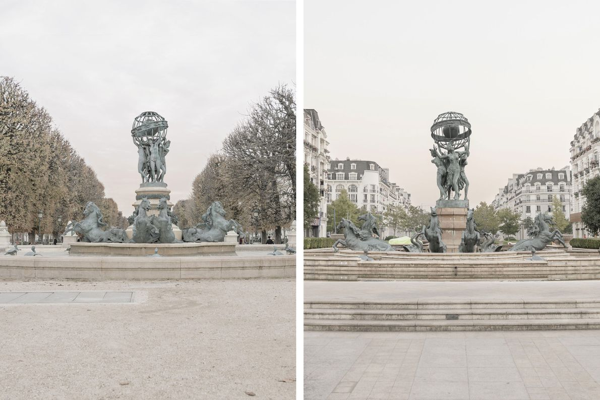 The Fontaine de l'Observatoire in Paris (left) has been recreated in Tianducheng (right) with some alterations.