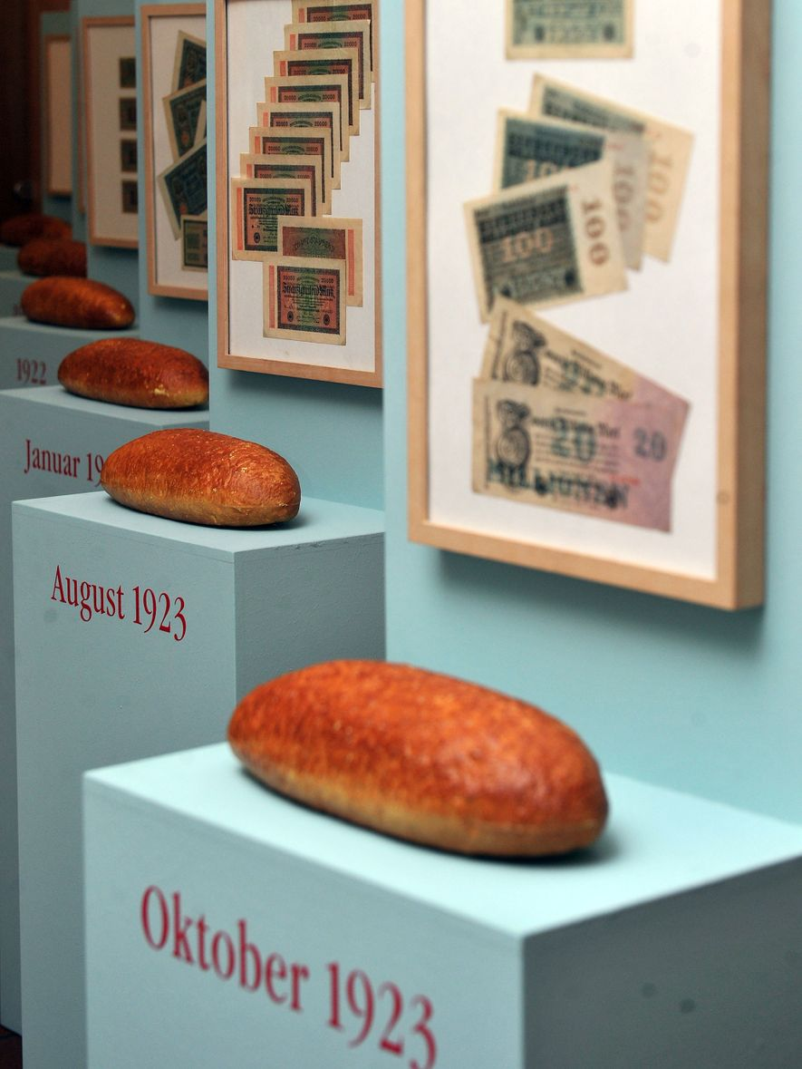An exhibit at the Museum of Bread Culture shows the price increase of bread during inflation ...