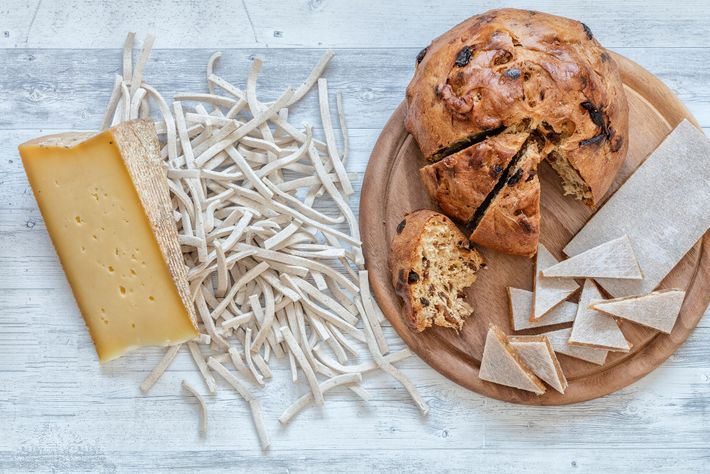 Cheese, pizzoccheri and bisciola (sweet bread with dried fruit, raisins, nuts, figs) are all staples of ...