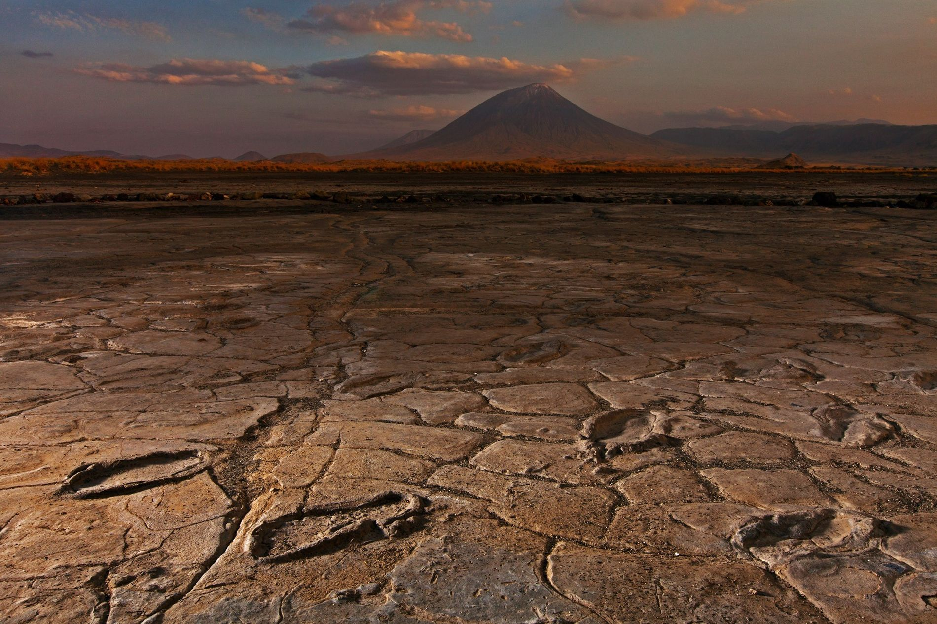 A party of more than a dozen adults and adolescents left footprints in volcanic mud in ...
