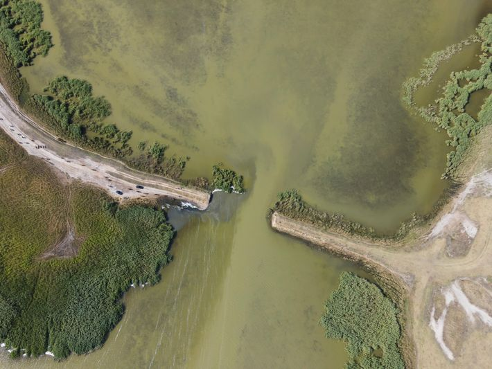 An aerial view of Cogîlnic River in Ukraine after its dams were removed.
