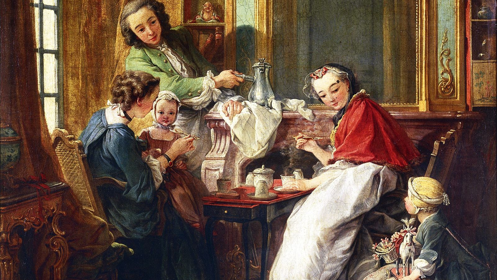 Chocolate on the menu in this 18th-century French painting of a family at breakfast by François ...