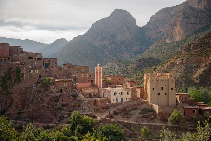 A mosque and its minaret break the mountainous landscape of Zaouia Ahanesal, the final village road ...