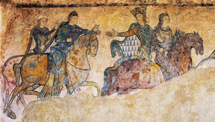 A 12th-century fresco found at the Chapelle Sainte-Radegonde, in Chinon, France depicts several figures on horseback. ...