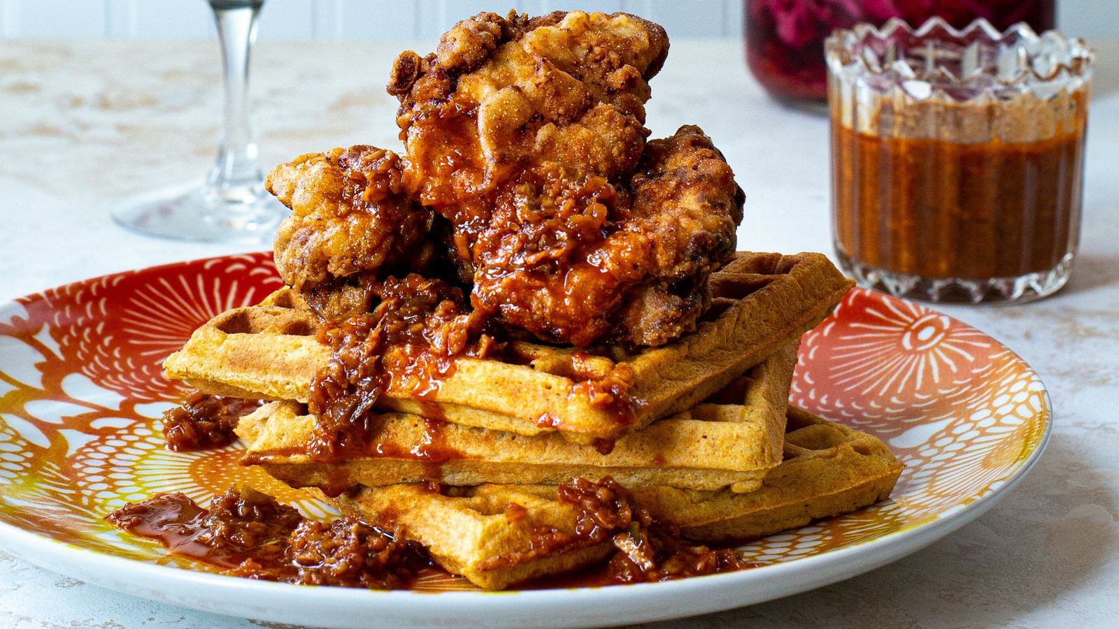 Learn how to make Marcus Samuelsson's fried chicken and waffles.