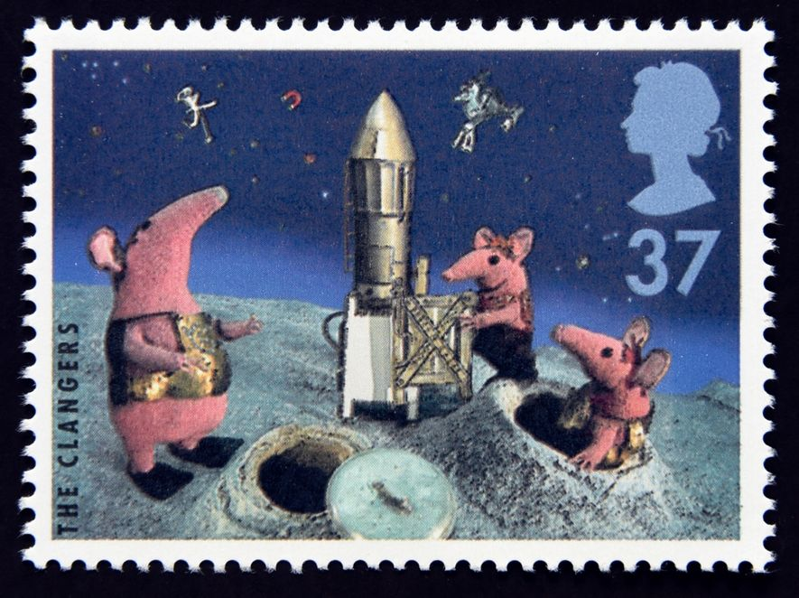 Commemorative Royal Mail stamp celebrating The Clangers in 1996. Created by animator Oliver Postgate, the programme ...