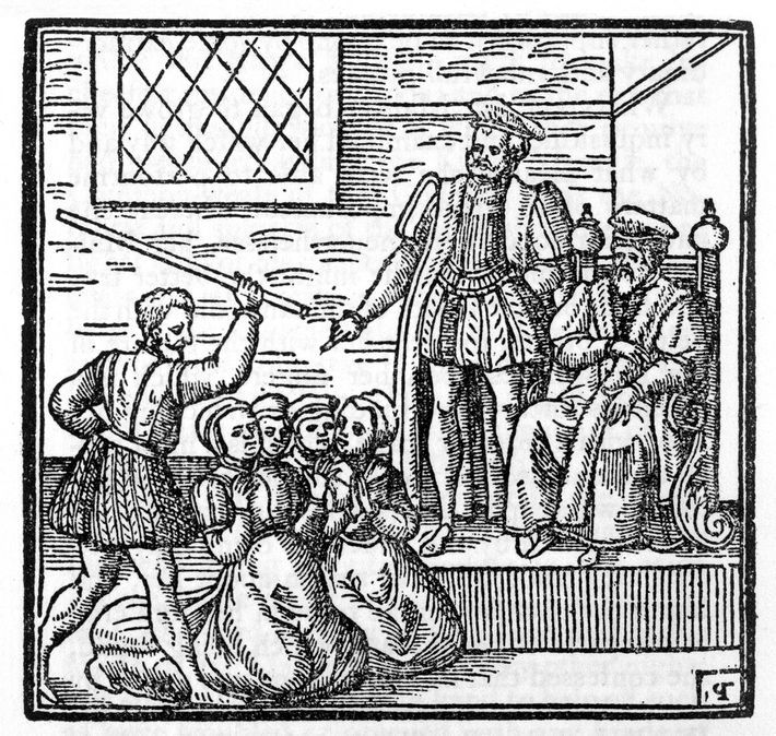 In this woodblock, Scotland's King James is depicted presiding over the North Berwick Witches trial of ...