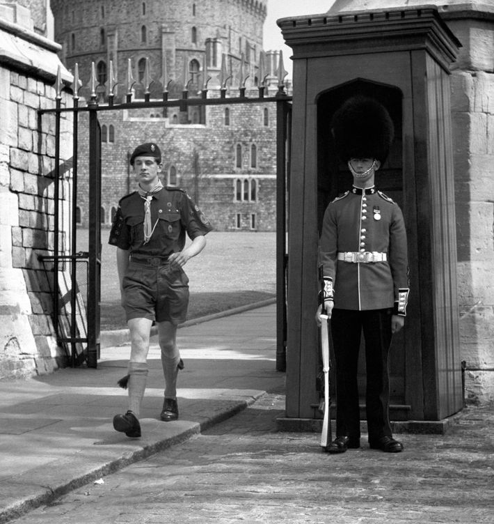 Seventeen-year-old Martin Davies, troop leader of the 25th Warrington Group scouts, strides out of Windsor Castle ...