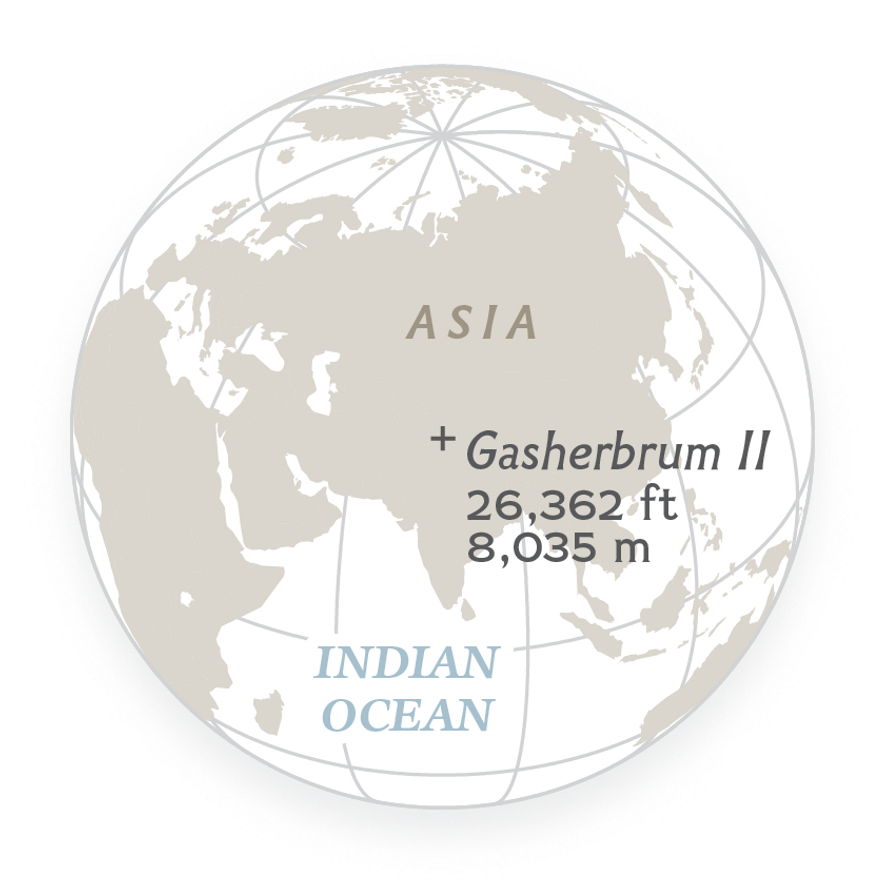 Elevation of Gasherbrum II, one of Earth's 14 tallest mountains. All are more than 8,000 meters ...