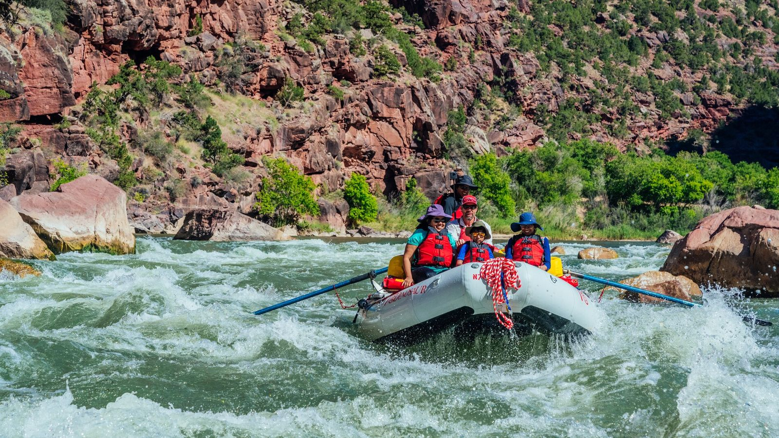 Just outside Flaming Gorge National Recreation Area, travellers can whitewater raft down the Green River, where ...
