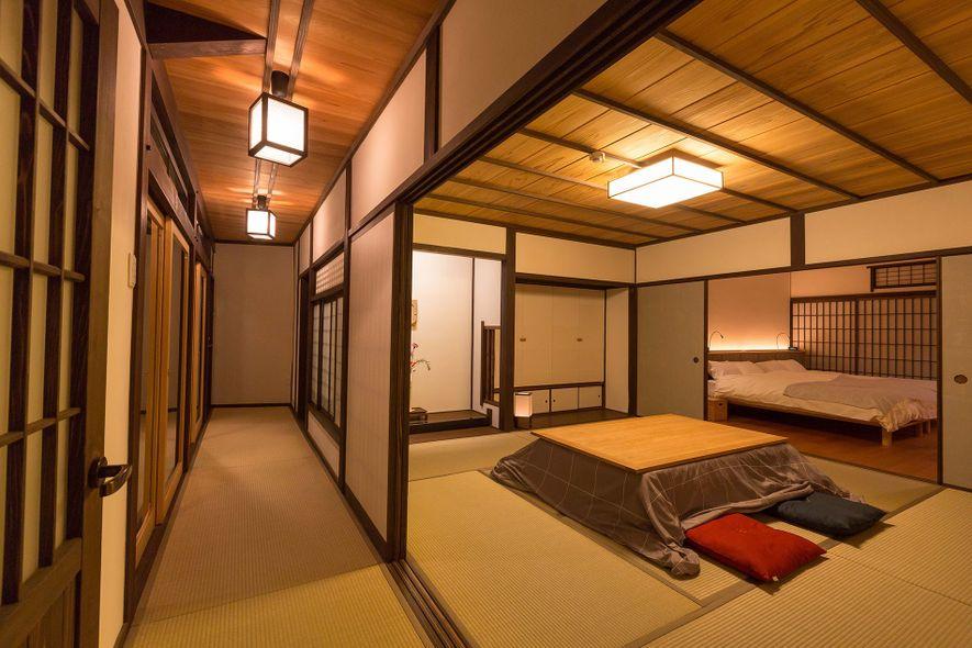 Gathering space at Uchiko Inn, Ehime