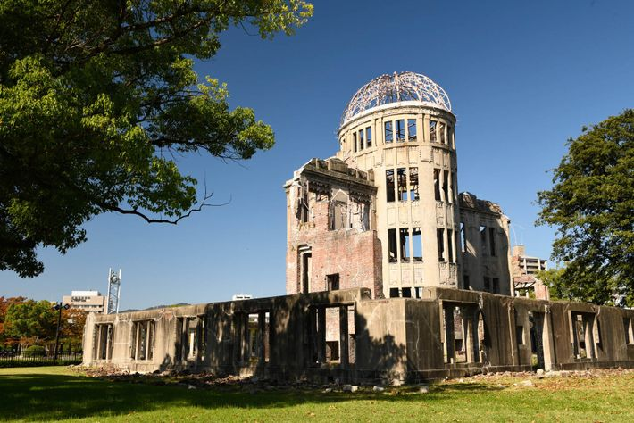 The Genbaku Dome, a UNESCO World Heritage Site, at the Hiroshima Peace Memorial is the only ...