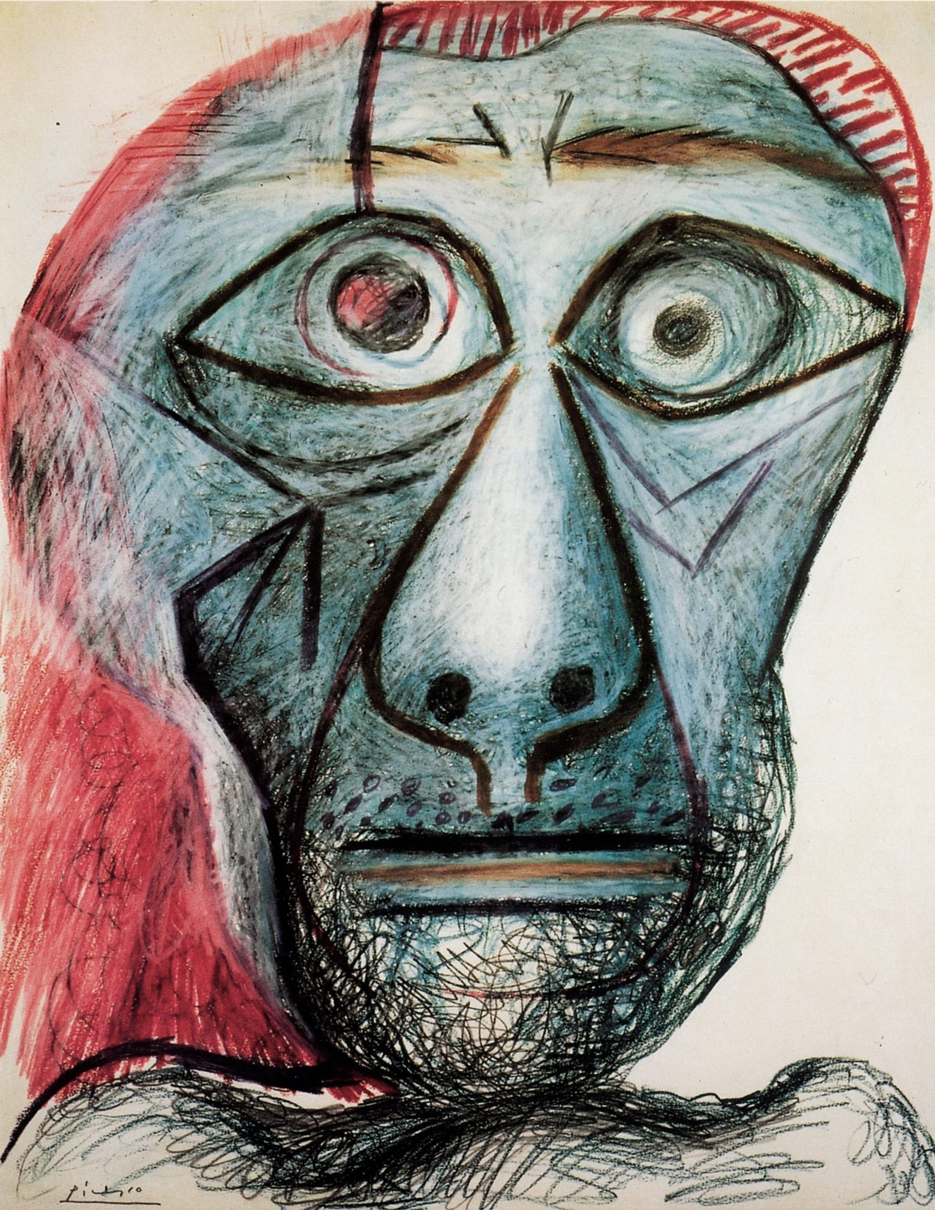 "Picasso never stopped reinventing his artistic style, and nothing was out of reach. He created thousands of paintings, sculptures, ceramics, watercolors, and engravings. ""He said he had no secrets in his work,"" says the artist's granddaughter Diana Widmaier Picasso. ""It was like a diary."" Picasso drew this self-portrait when he was 90 years old."