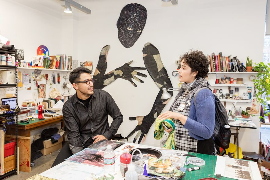 A master of fine arts from a prestigious school can boost the career of an aspiring artist. At the Yale School of Art, ranked as one of the premier programmes in the world, prospective applicant Maria Vargas Aguilar chats with current student Felipe Baeza during an open house.