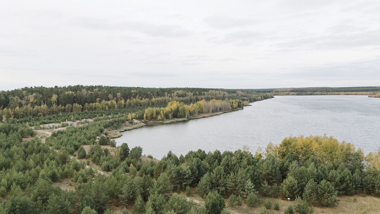 View from the top of the landmark Rusty Nail, an observation tower between Lake Sedlitz and ...