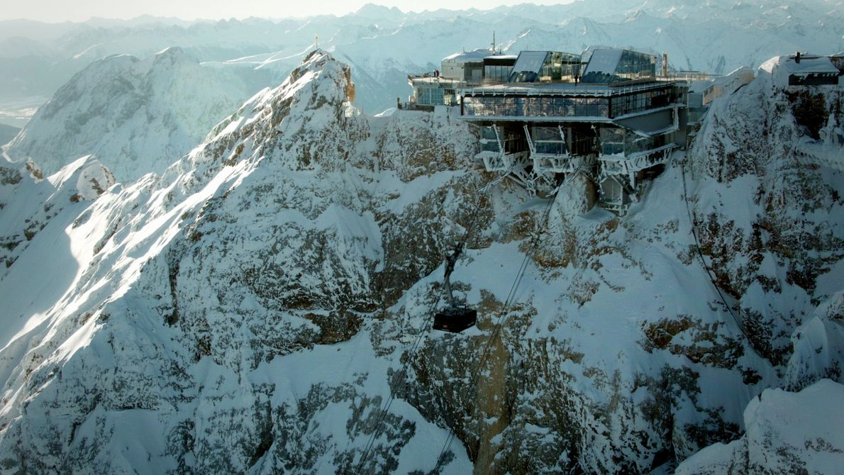 Germany: the cable car station at the summit of Zugspitze, Germany. The mountain is Germany's highest, ...