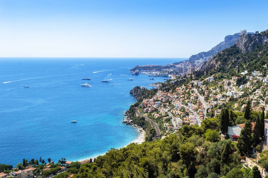 A view of the Mediterranean and the port of Monte Carlo from the highest point of ...