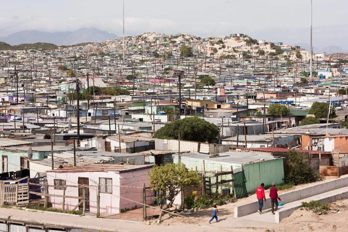 A picture taken on May 4, 2019 shows a view of an informal settlement in Khayelitsha, ...