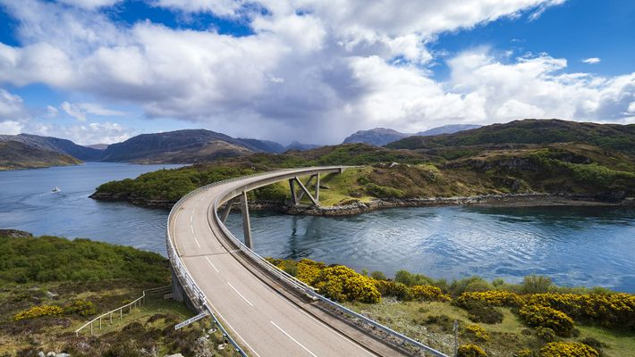 Kylesku Bridge on the North Coast 500 route in Sutherland, Scotland.