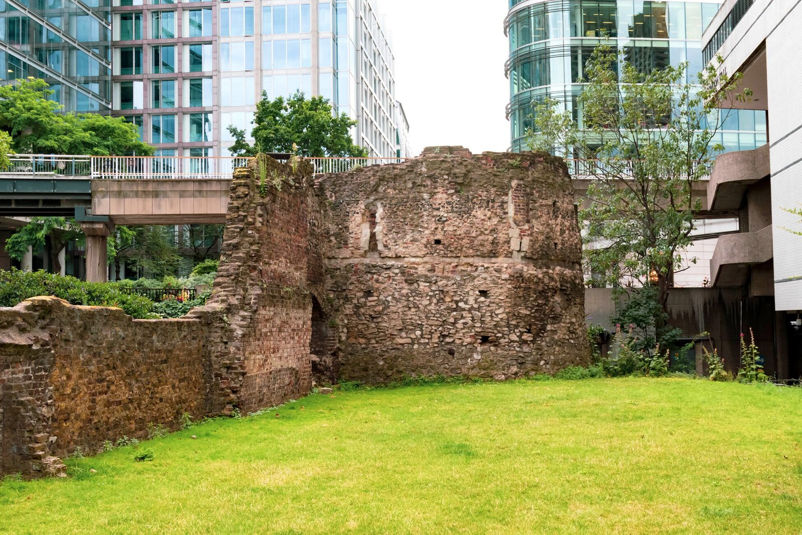Fragments of London's ancient Roman walls can still be found among some modern-day office buildings in ...