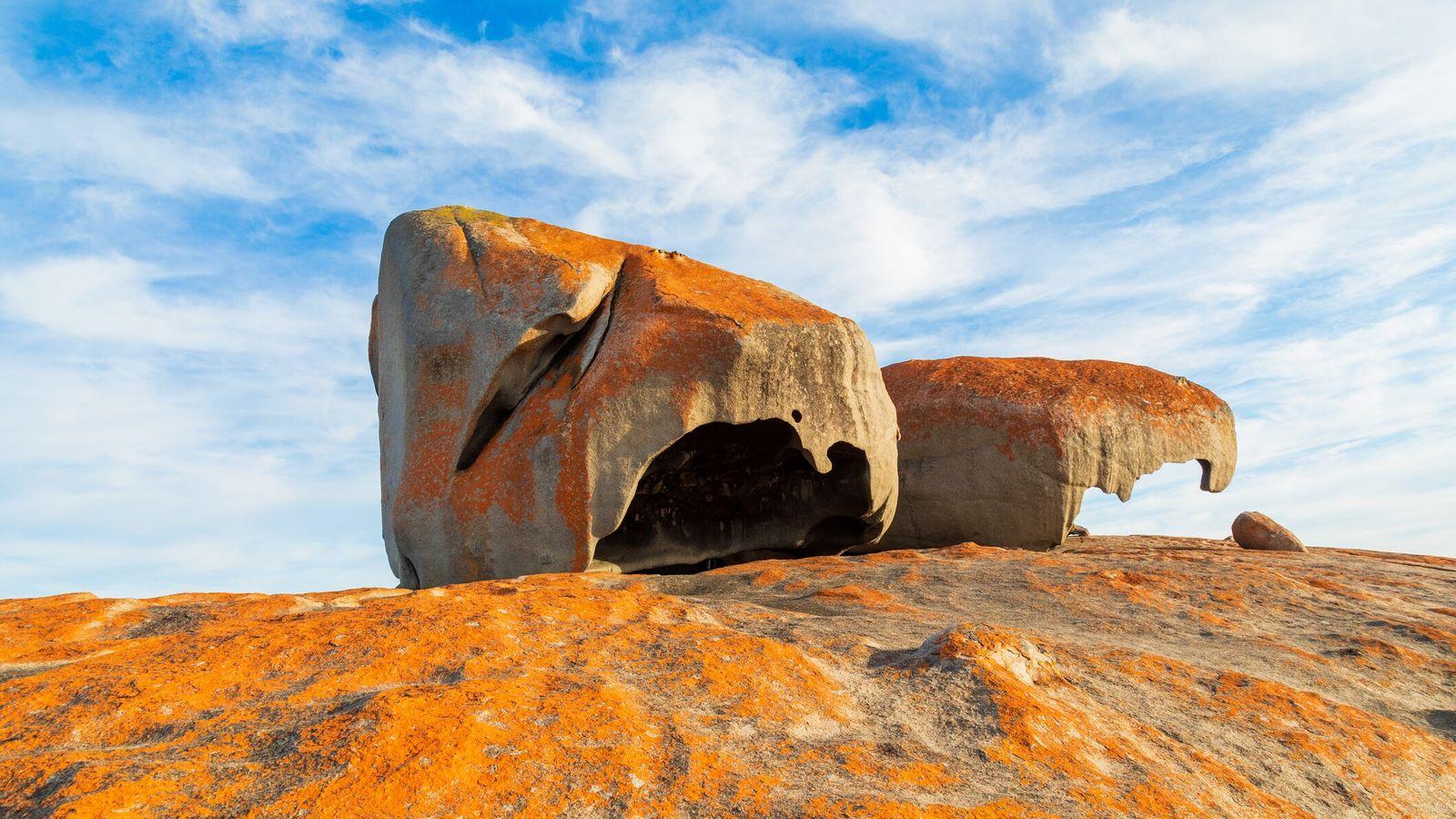 """Large orange tipped Rocks on the oceans coastline, """"the remarkables, Kangaroo Island, Australia"""