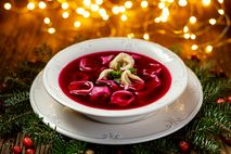 Poland's meat-free Christmas Eve dinner kicks off with barszcz, a beetroot soup.