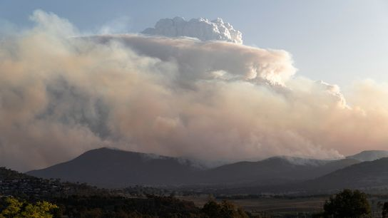 A pyrocumulonimbus cloud rises up over the Orroral Valley bushfire burning to the south of Canberra, ...