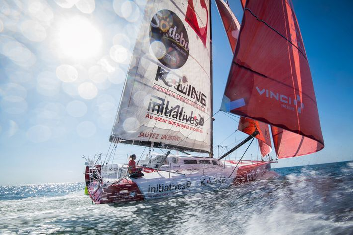Competitors sail high-tech boats that can reach speeds of up to 30 knots. Here, British skipper ...