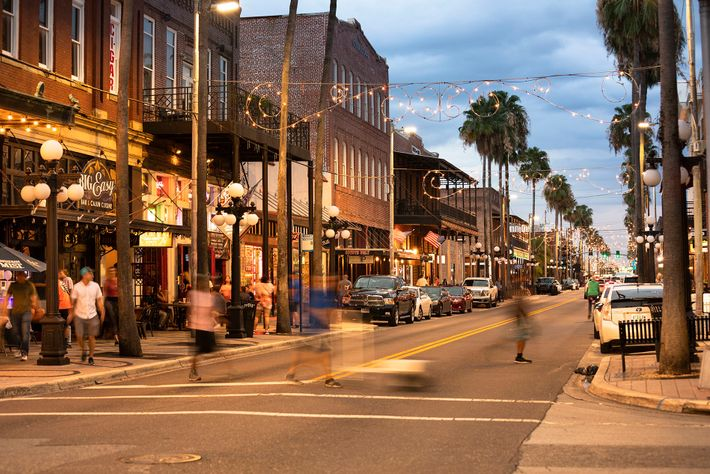 Tampa's characterful Ybor City, known for its nightlife and vintage boutiques.