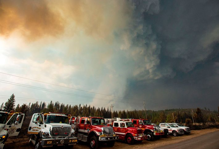 Firefighters look on as a thunderstorm cell draws in a smoke column from the Hog fire ...