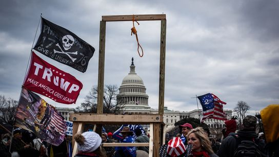 A noose and gallows erected by Trump supporters stands before the Capitol on January 6. While ...
