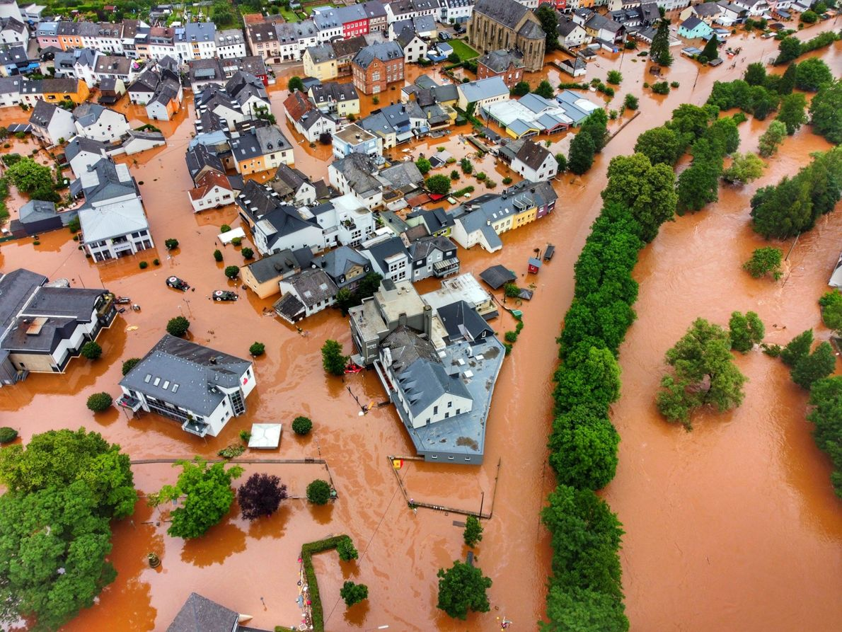 In the German municipality of Kordel, a village is overtaken by high floodwaters.