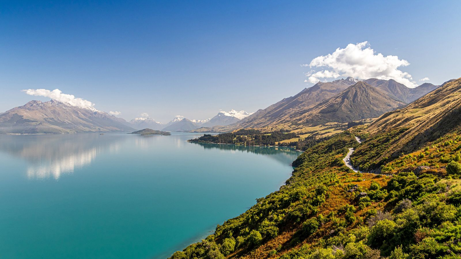 Elevated view over the snowcapped mountains and water of Lake Wakatipu at Queenstown
