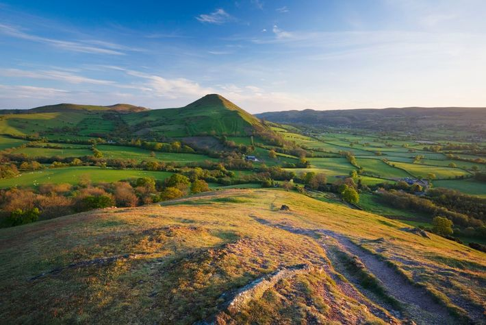 View from The Lawley towards Caer Caradoc Hill and The Long Mynd in the Shropshire Hills.