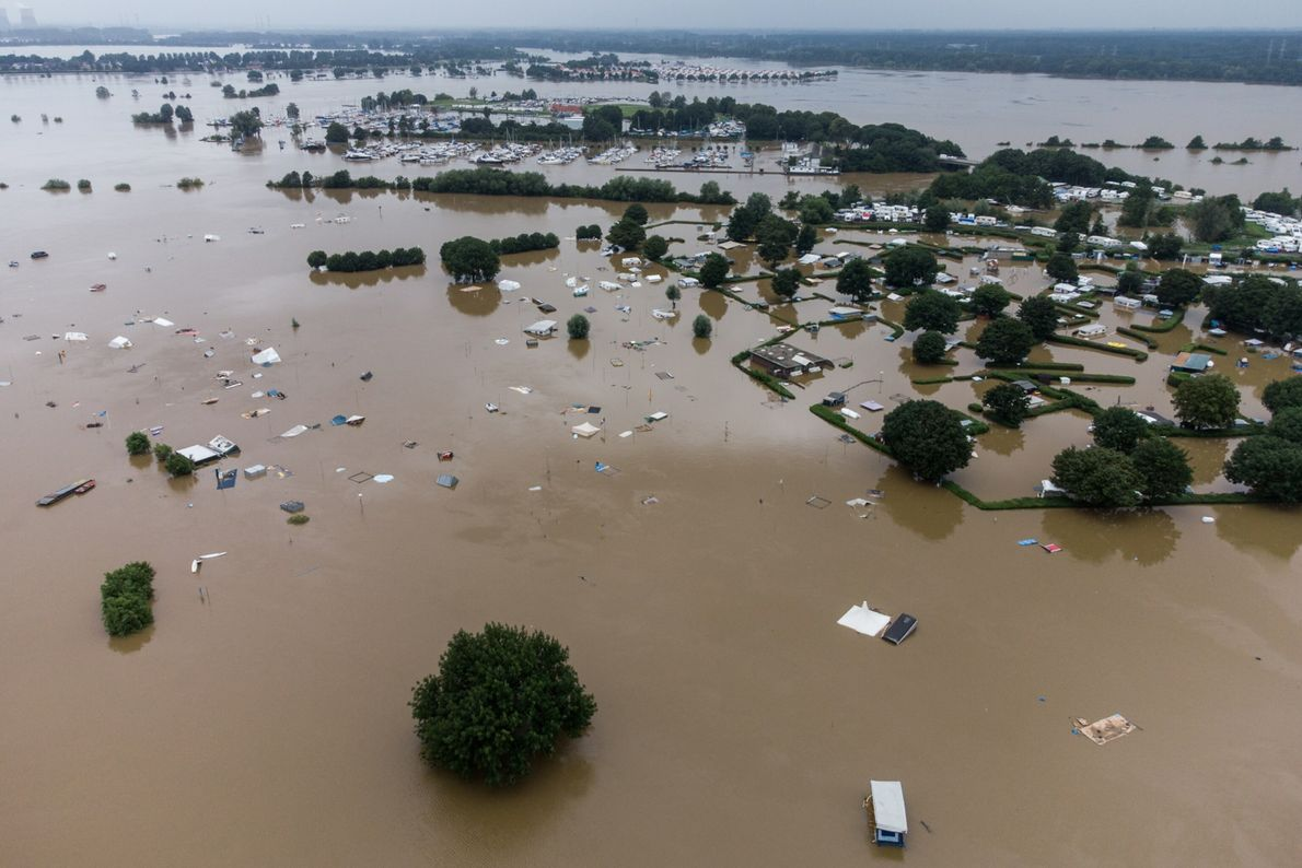 Floodwaters cover a camping site in the Netherlands on July 16.