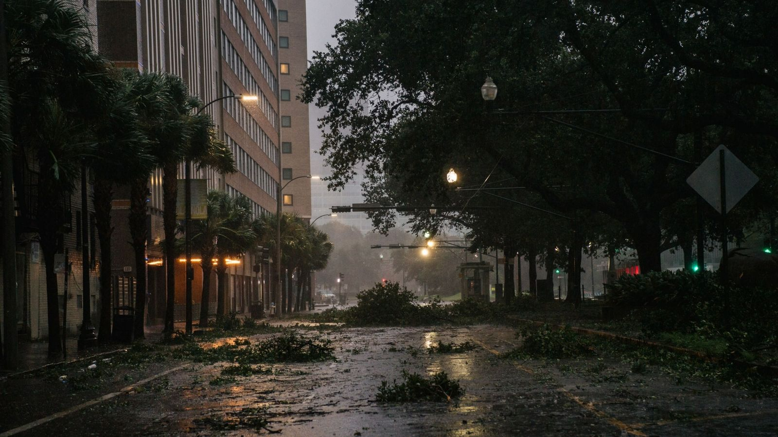 Debris is seen in an intersection in downtown New Orleans on August 29, 2021 after Hurricane ...