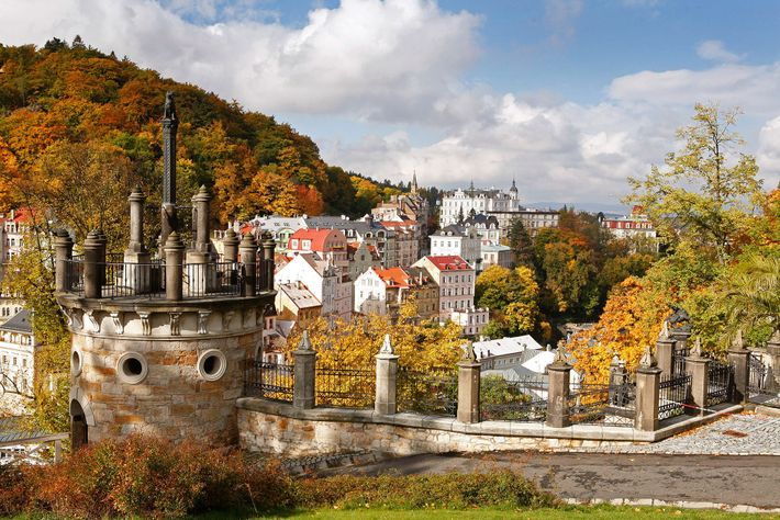 View of cityscape of Karlovy Vary, Czech Republic.