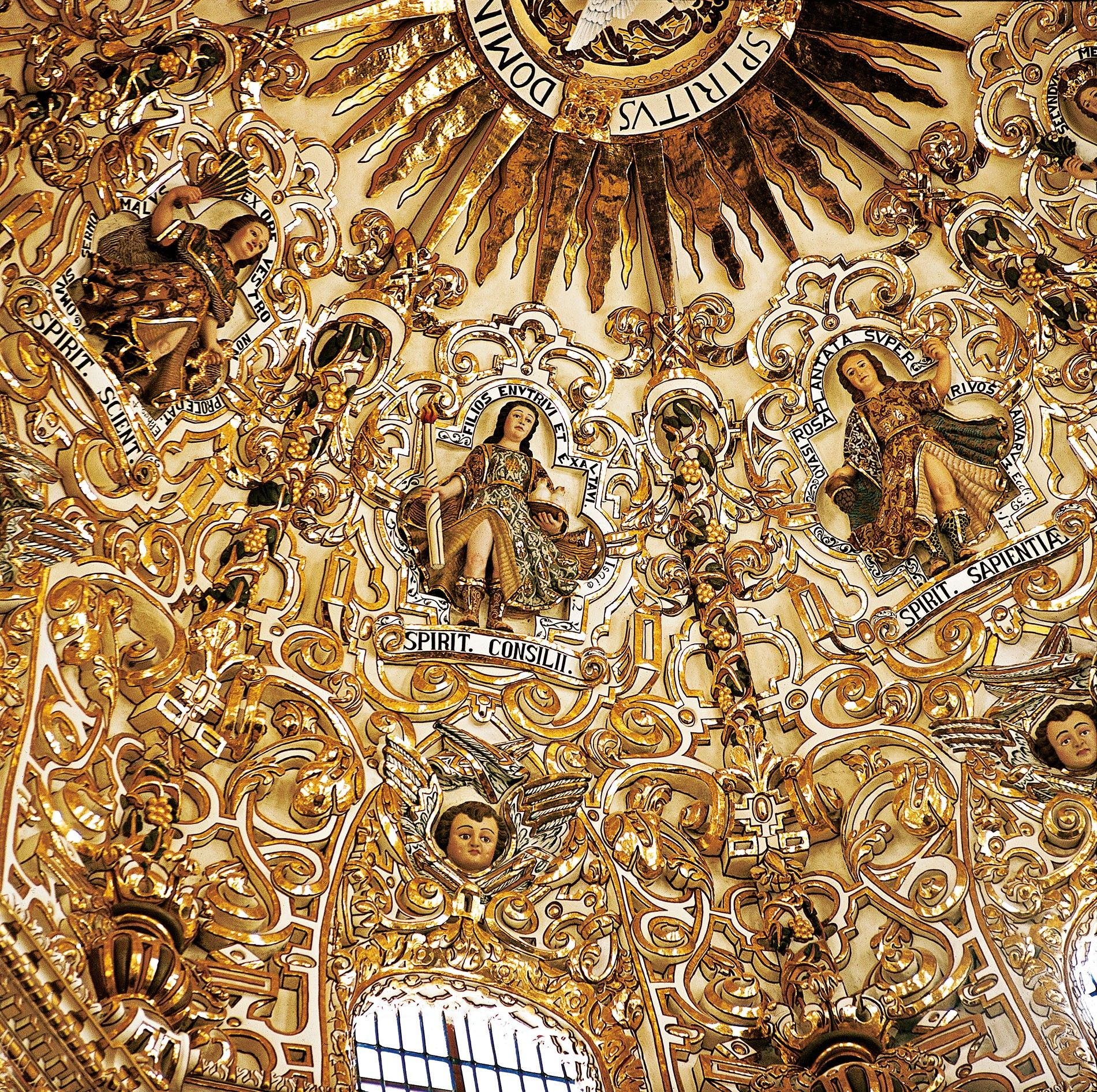 Puebla's 17th-century Chapel of the Rosary is covered in gold leaf.