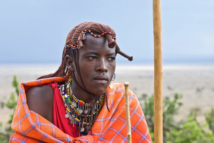 A traditional Maasai Mara tribesman, Kenya.