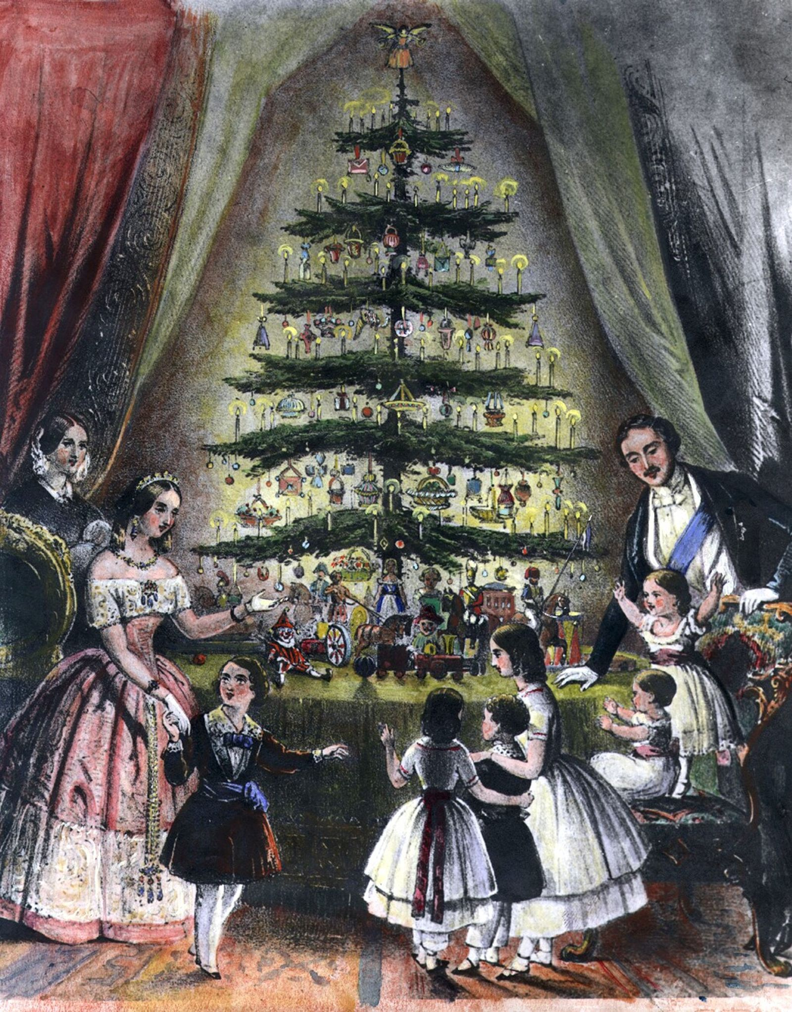 In December 1848, an illustration showed Queen Victoria, Prince Albert, and their children admiring a Christmas ...