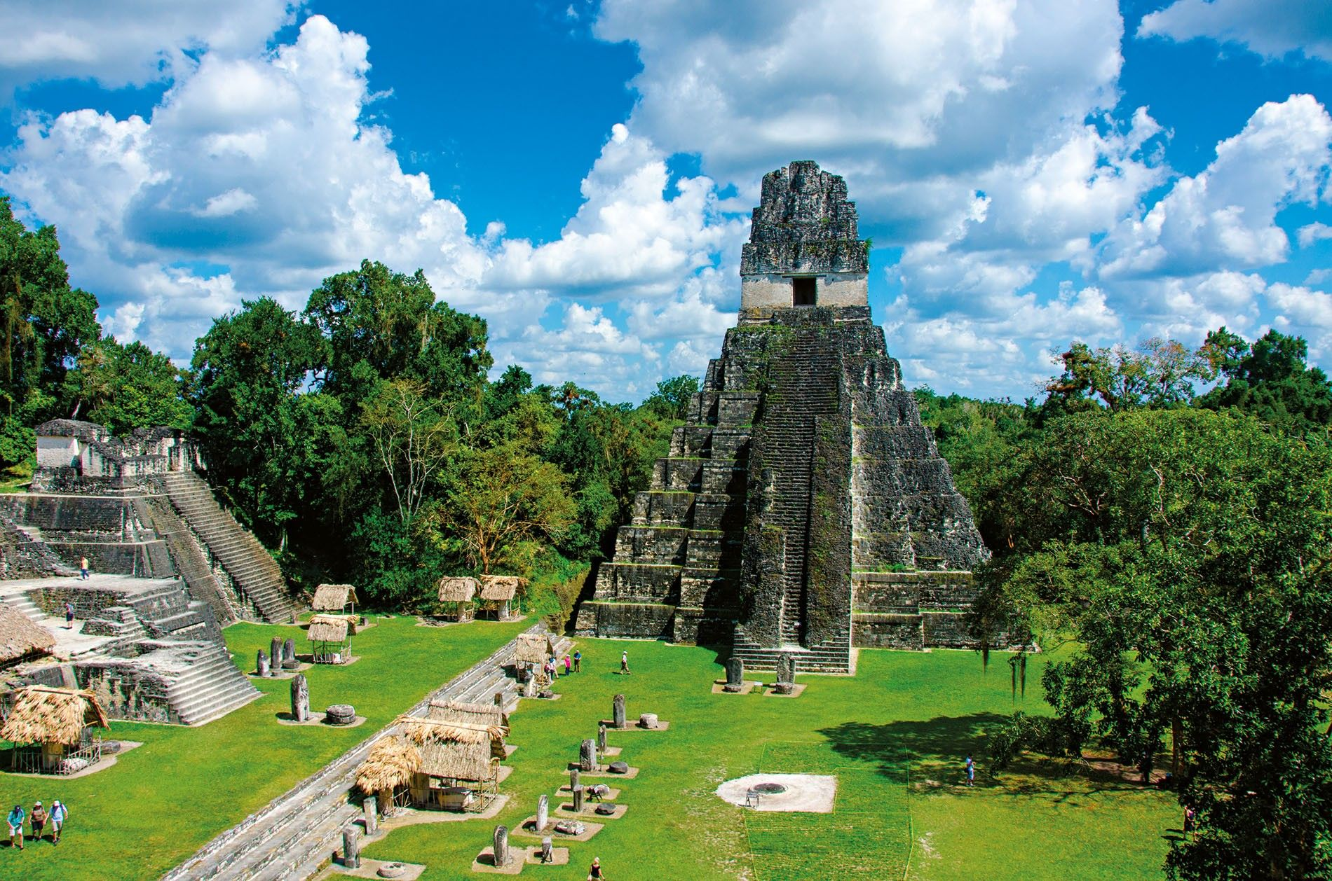 The Temple of the Great Jaguar towers over the main plaza of the ancient Maya city ...