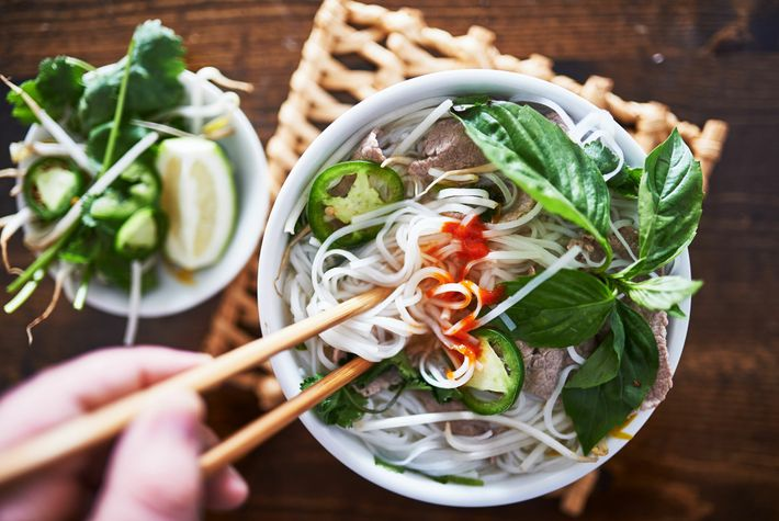 The best pho is topped with handfuls of pungent, fresh herbs, such as coriander, Thai basil and mint, ...