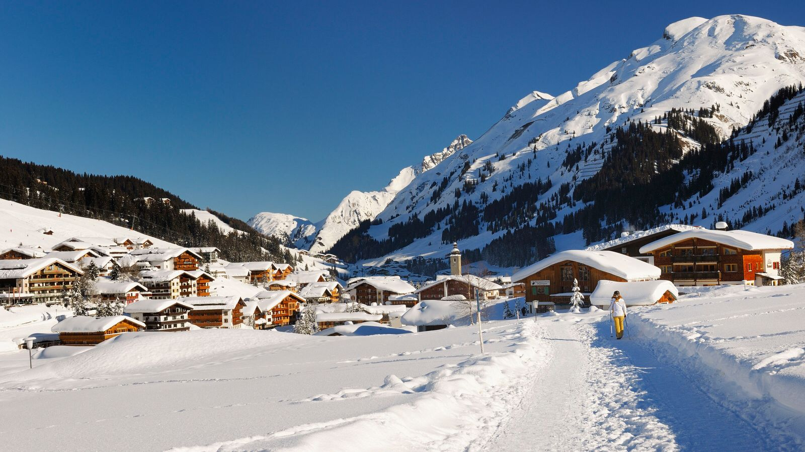 Family skiing in Lech, Austria