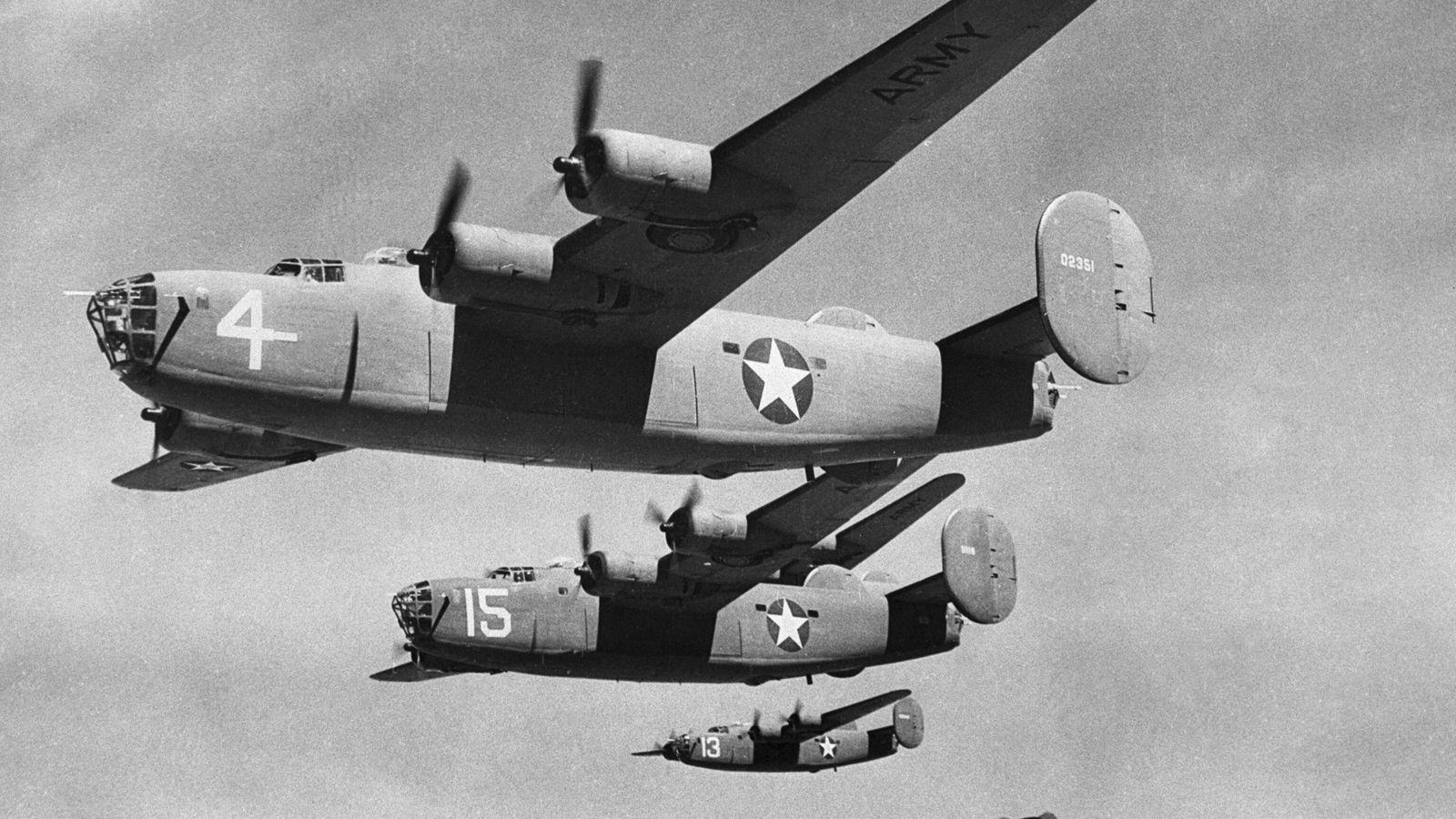 B-24 Bombers In Mid-Flight