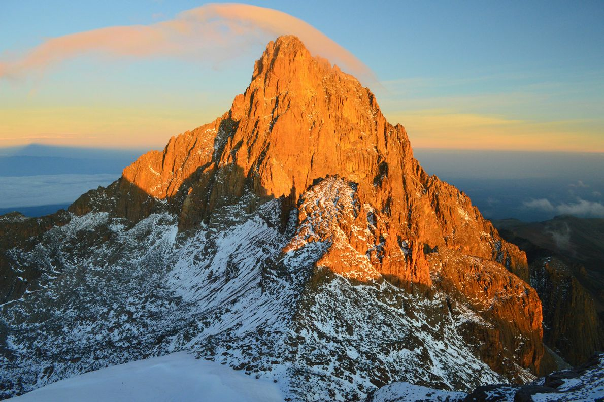 Mount Kenya, 93 miles north-northeast of Nairobi in the Kenyan Highlands, is the highest mountain in ...