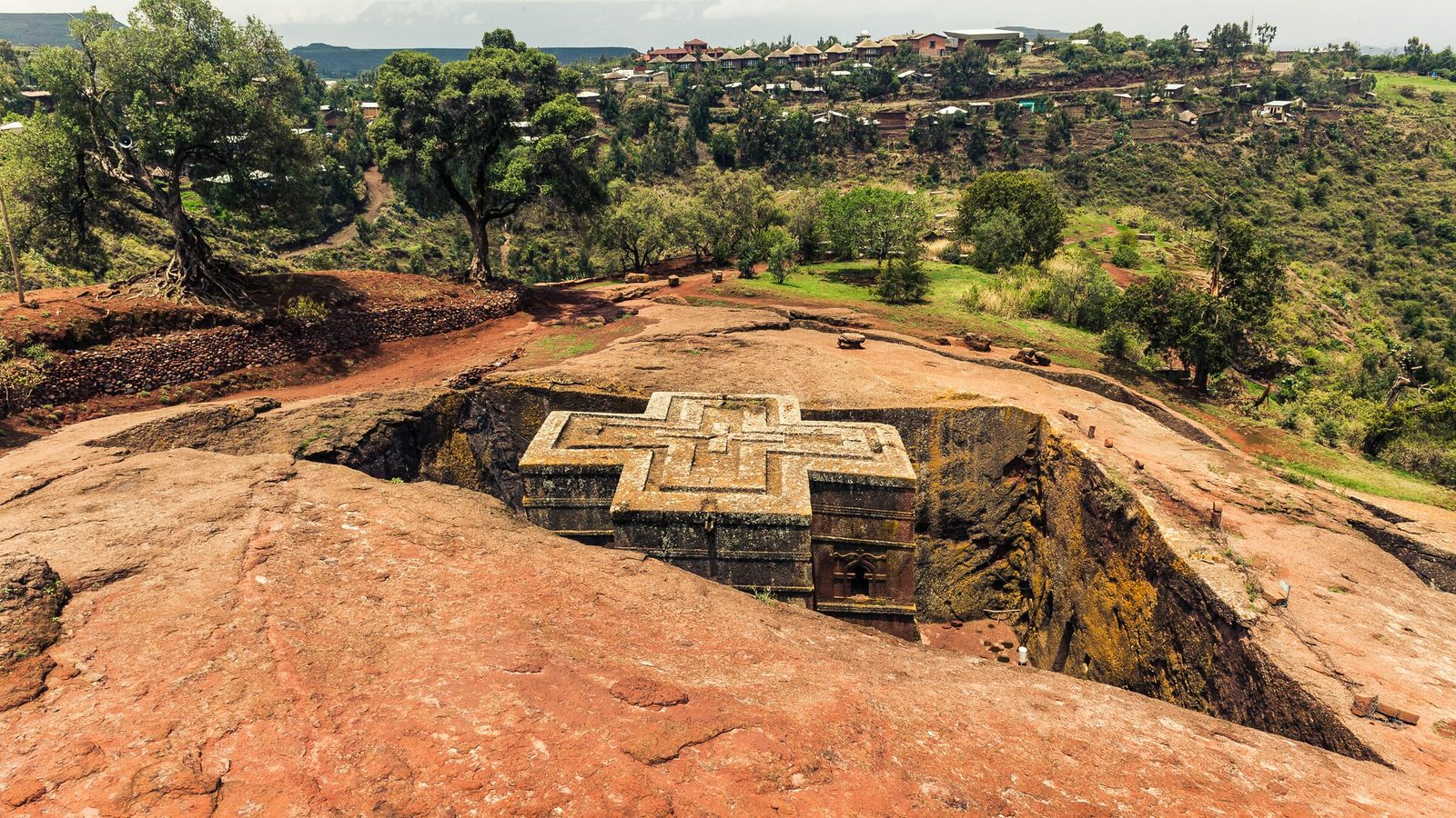 The Church of Saint George is one of eleven rock-hewn churches in Lalibela, Ethiopia.