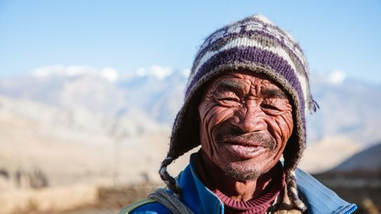 Portrait of a farmer, Upper Mustang region, Nepal