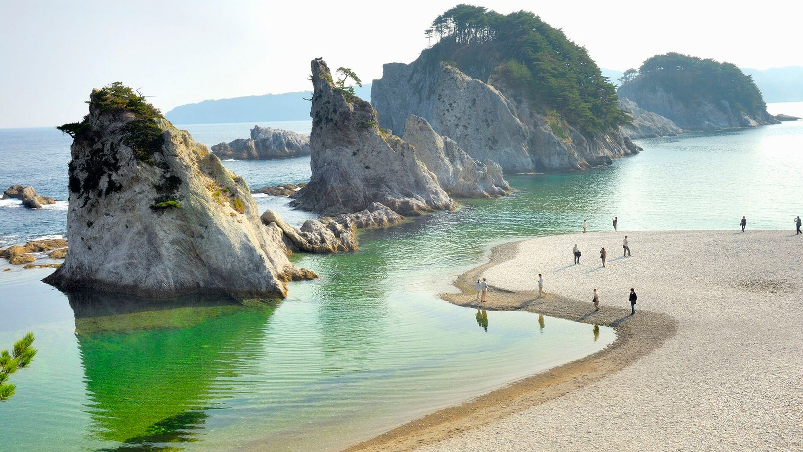 The Jodogahama volcanic rock formations in Miyako are just one of the natural wonders you'll see while walking ...