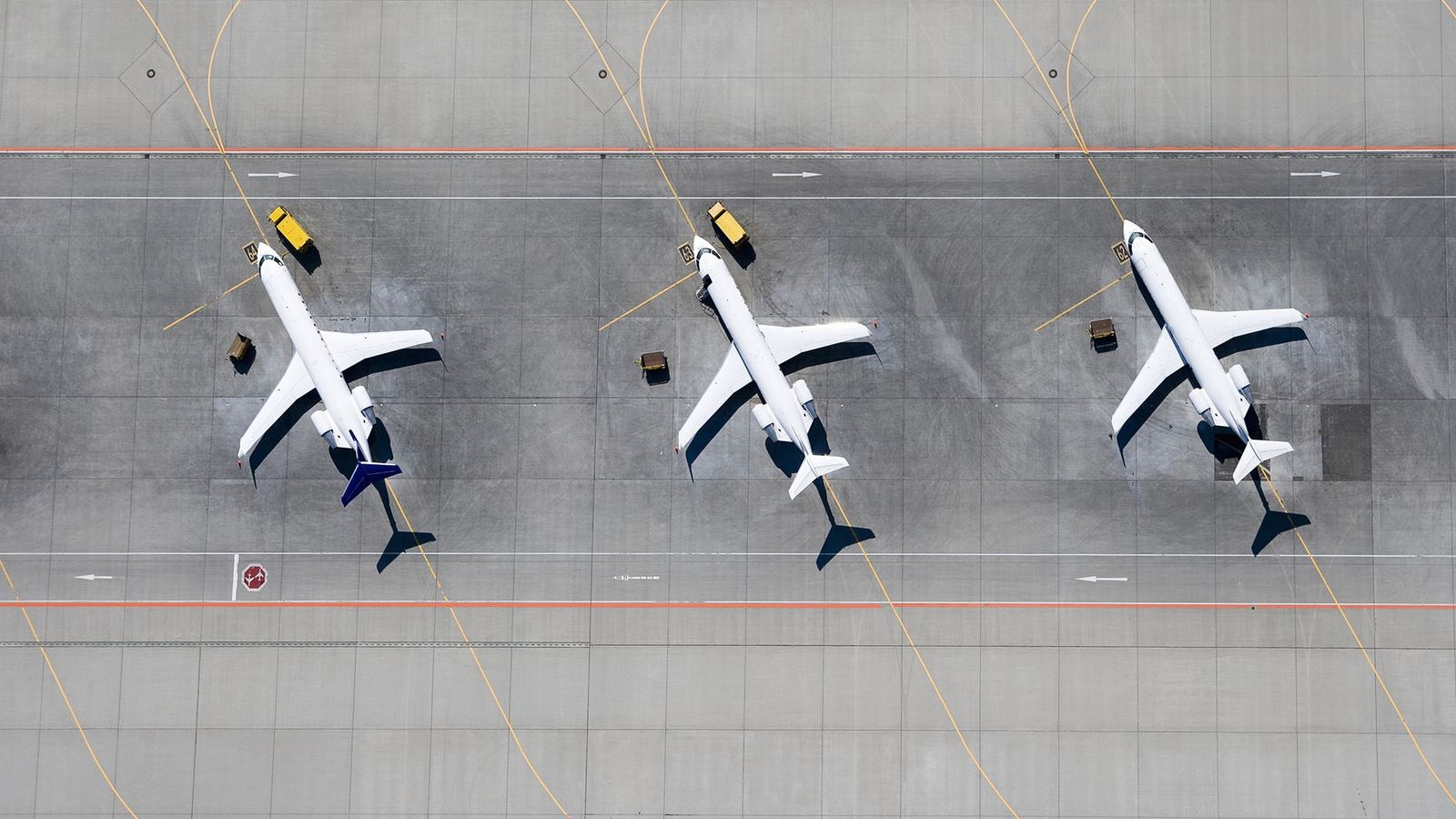Grounded airplanes.