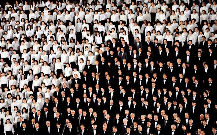 "Singers from all over Japan participate in large holiday choral performances of Beethoven's ""Ode to Joy,"" ..."